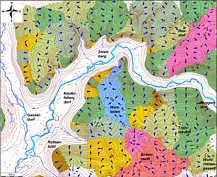 Karte der oberirdischen Teil-Einzugsgebiete mit Abstromrichtungen des oberflächennahen Abflusses im Karstgebiet von Streitberg. Die einzelnen Einzugsgebiete sind zur besseren Unterscheidungsmöglichkeit mit jeweils gesonderten Farbtönen hinterlegt.