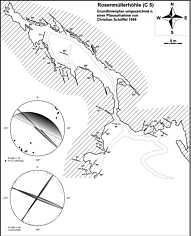 """Grundlinienplan der """"Rosenmüllerhöhle"""" (C 5) N' Muggendorf/Ofr. nebst tektonischen Elementen."""