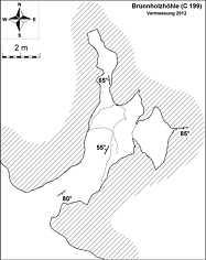 """Grundlinienplan der """"Brunnholzhöhle"""" (C 199) ENE' Streitberg/Ofr. nebst Störungs- und Klufttektonik."""