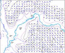 Grundwassergleichen und generelle Strömungsverhältnisse im untersten Karstwasserkörper im Streitberger Gebiet.