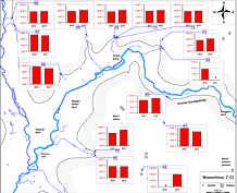 Messwerte der Wassertemperaturen in den Grund- und Quellwässern des Streitberger Gebiets am 15. August 2012 und am 21. August 2013.