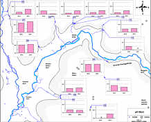 pH-Messwerte in den Grund- und Quellwässern des Streitberger Gebiets am 15. August 2012 und am 21. August 2013.