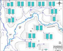 Messwerte der Sauerstoffsättigung in den Grund- und Quellwässern des Streitberger Gebiets am 15. August 2012 und am 21. August 2013.