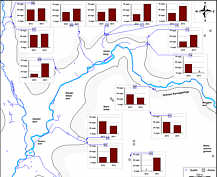 Sulfat-Messwerte in den Grund- und Quellwässern des Streitberger Gebiets am 15. August 2012 und am 21. August 2013.
