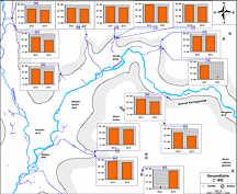 Gesamthärte-Messwerte in den Grund- und Quellwässern des Streitberger Gebiets am 15. August 2012 und am 21. August 2013.