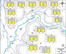 Carbonathärte-Messwerte in den Grund- und Quellwässern des Streitberger Gebiets am 15. August 2012 und am 21. August 2013.