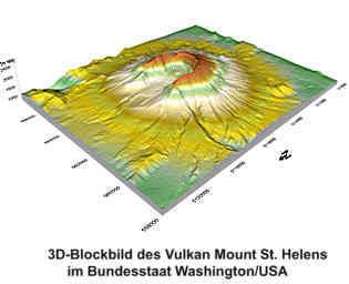 3D-Modell des Vulkans Mount St. Helens